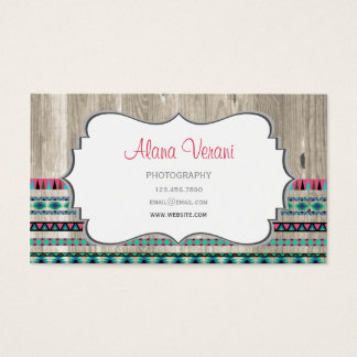 Modern Aztec Pattern on Wood Business Card