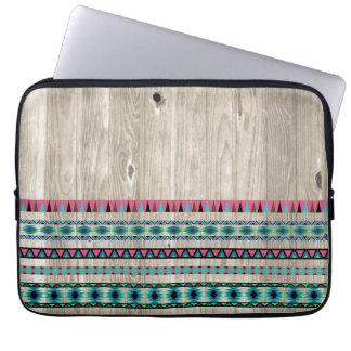 Modern Aztec Pattern on Wood Laptop Sleeve