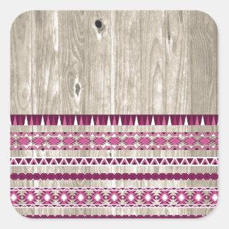 Modern Aztec Pattern on Wood Square Sticker