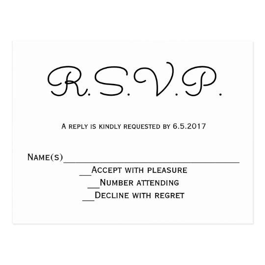 Modern b&w RSVP wedding postcards