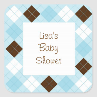 Modern Baby Blue Argyle Envelope Seals Stickers