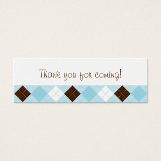 Modern Baby Blue Argyle Party Favor Gift Tags