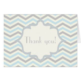 Modern baby blue, grey, ivory chevron pattern card