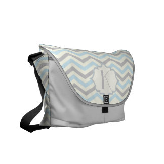 Modern baby blue, grey, ivory chevron pattern messenger bags