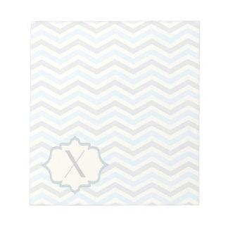 Modern baby blue, grey, ivory chevron pattern notepad