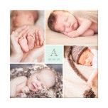 Modern Baby Boy Monogram Photo Collage Canvas Stretched Canvas Print