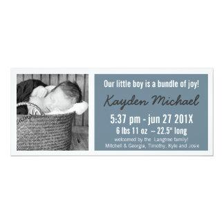 Modern  Baby Boy Photo Birth Announcement
