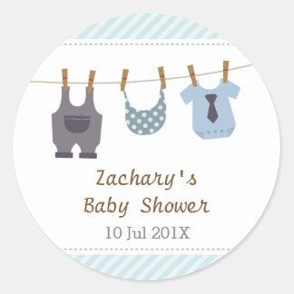 Modern Baby Clothes Baby Boy Shower Party Round Sticker