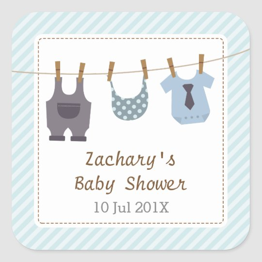 Modern Baby Clothes Baby Boy Shower Party Square