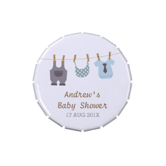 Modern Baby Clothes Baby Boy Shower Party Treats Jelly Belly Tins