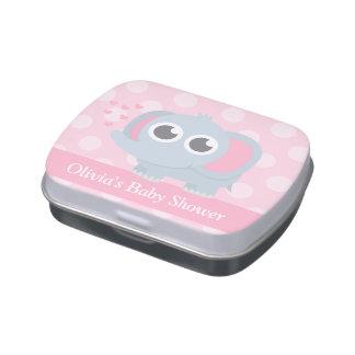 Modern Baby Elephant Baby Girl Shower Candy Tin