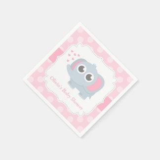 Modern Baby Elephant Polka Dots Baby Shower Paper Napkin