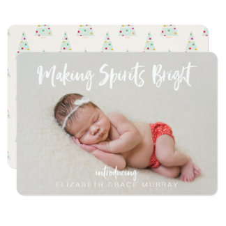 Modern Baby Girl Christmas Birth Announcement
