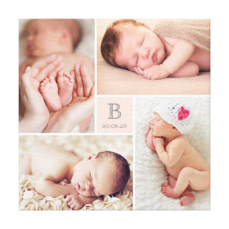 Modern Baby Girl Monogram Photo Collage Canvas Canvas Print