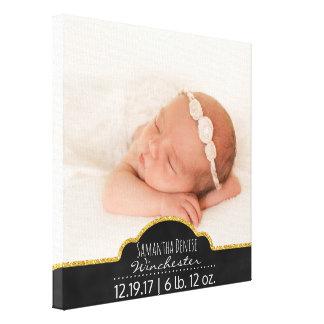 Modern Baby Photo Monogram Birth Announcement Canvas Print
