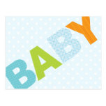 Modern Baby Shower Advice Card Bold in Blue Post Card
