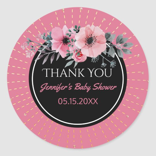 Modern Baby Shower Girl Pink Floral Thank You