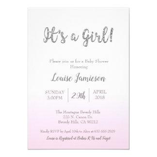 Modern Baby Shower It's a Girl Pink Glitter Card