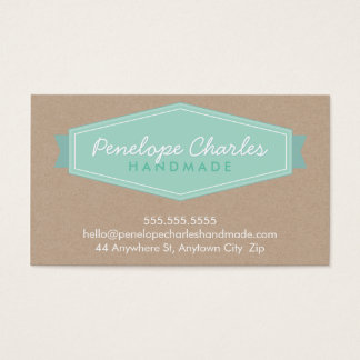 MODERN BADGE LOGO pastel bold mint Eco kraft Business Card