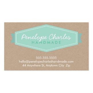 MODERN BADGE LOGO pastel bold mint Eco kraft Pack Of Standard Business Cards