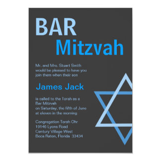 Modern Bar Mitzvah Invitiation- Blue & Grey Card