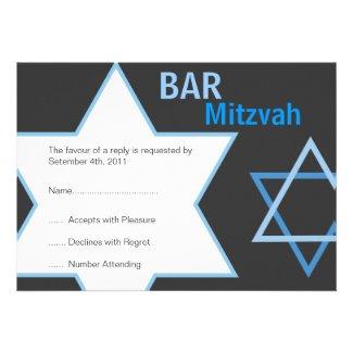 Modern Bar Mitzvah RSVP - Blue & Grey Invites