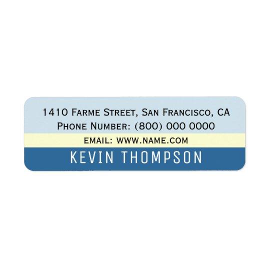 modern basic simple address label with blue stripe