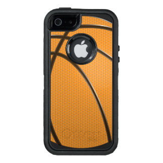 Modern Basketball Design in Orange and Black OtterBox Defender iPhone Case