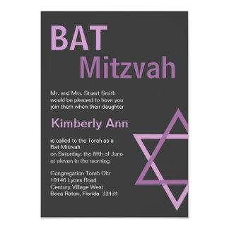 Modern Bat Mitzvah Invitiation- Dark Grey & pink 13 Cm X 18 Cm Invitation Card