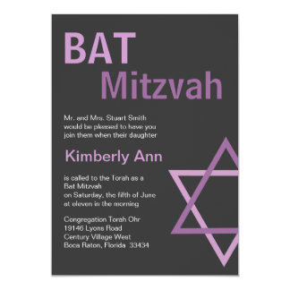 Modern Bat Mitzvah Invitiation- Dark Grey & pink Card