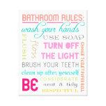 Modern Bathroom Rules Canvas Art Print Stretched Canvas Print