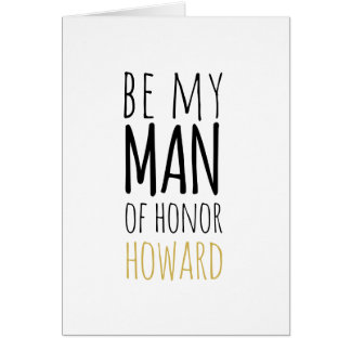Modern Be My Man of Honor Request Card
