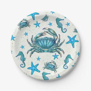 Modern Beach Blue Crab Starfish Seahorse Party Paper Plate  sc 1 st  Zazzle & Seahorse Plates | Zazzle.co.uk