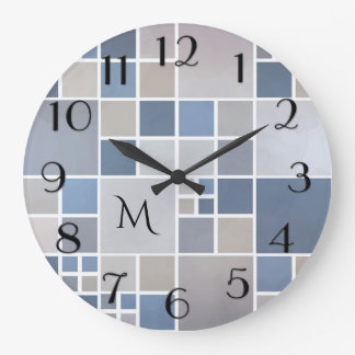 Modern Beach Geometric Pattern Monogram Wall Clock