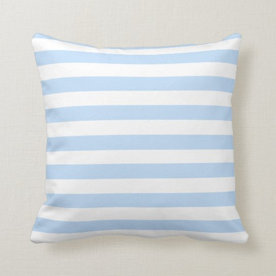 Modern beach light blue white stripes throw pillow