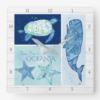Modern Beach Ocean Deep Sea Whale Turtle Octopus Square Wall Clock