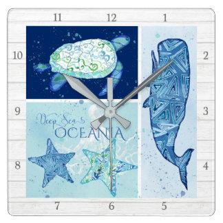 Modern Beach Ocean Deep Sea Whale Turtle Octopus Wall Clock