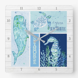 Modern Beach Ocean Geometric Whale Turtle Seahorse Square Wall Clock