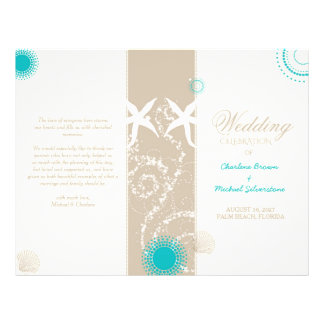 Modern Beach Wedding Celebration Bi Fold Program 21.5 Cm X 28 Cm Flyer