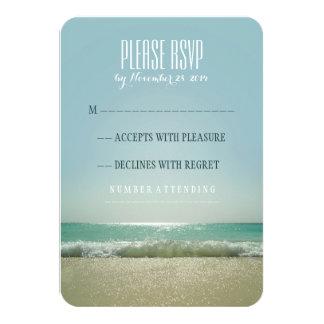 Modern beach wedding RSVP cards with blue sea 9 Cm X 13 Cm Invitation Card