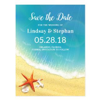 Modern Beach Wedding Save the Date Postcard