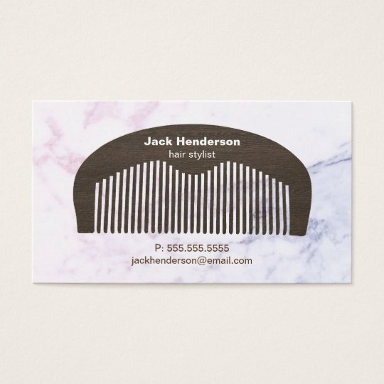 Modern Beard Comb & Marble | Business Card