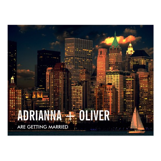Modern Beautiful New York Skyline Save The Date 2 Postcard