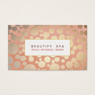 Modern Beauty Salon & Spa Faux Gold Coral Pink Business Card