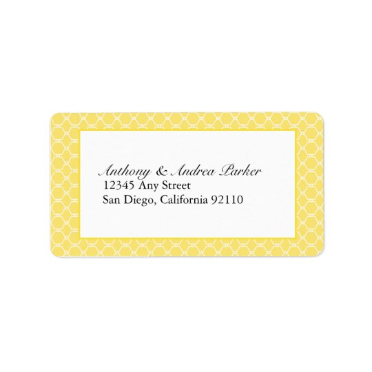 Modern Beehive Address Label in yellow