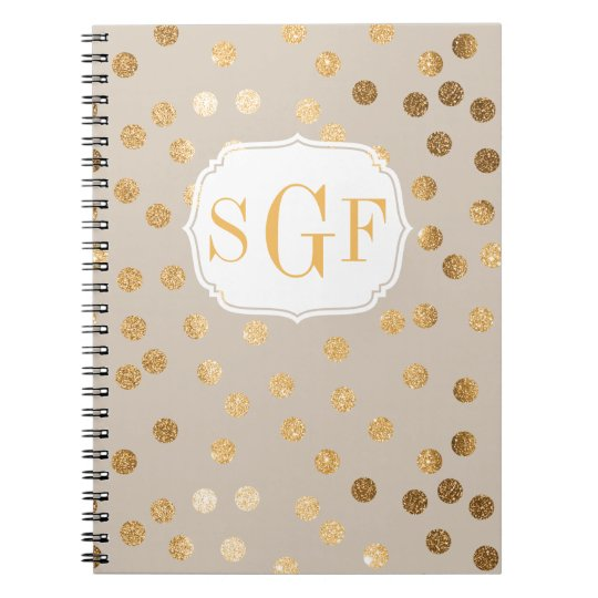Modern Beige and Gold Glitter City Dots Notebook