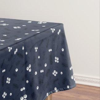 Modern Berries & Pine Blue Pattern Tablecloth