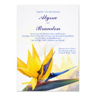 "Modern Bird of Paradise Hawaiian Wedding Invite 5"" X 7"" Invitation Card"