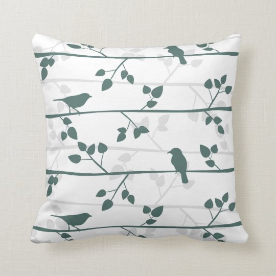 Modern Bird Pattern Elegant Nursery Decor Pillow