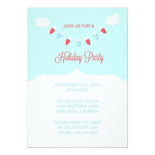 Modern Birds with Christmas Lights Holiday Party Card